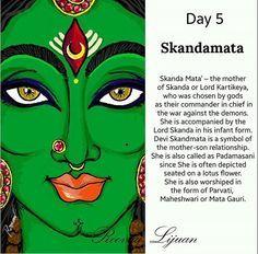 A beautiful sketch of Day 5 Swaroopa of Maa Durga by this awesome artist Roova Lijuan Skandamata Maa Durga Image, Durga Maa, Shiva Shakti, Durga Goddess, Navratri Wishes, Happy Navratri, Chakras, Mantra, Navratri Images