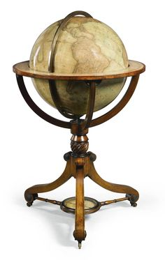 Sotheby's A William IV 21-inch terrestrial globe by Newton on a mahogany and ebony strung stand, dated 1832 the stand fitted with a compass, restored