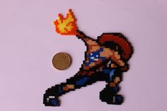 One Piece Portgas D. Ace hama perler bead sprite by zuliepoulpy