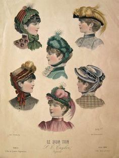 1883 Le Bon Ton Hand Colored Victorian Print ~ Women's Hats, Millinery