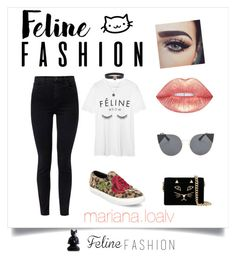 """Feline 🐯 Fashion !! ✨"" by marianaloalv on Polyvore featuring moda, Charlotte Olympia, Gucci, NOVICA, J Brand, Lime Crime, Battington y Steve Madden"