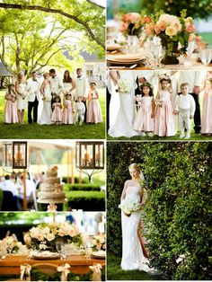 Summer Wedding, l love everyone in  white and cream, and girls in pink, and all other accents pink and white. love love love