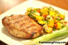 Grilled Pork Chop with Mango Salsa.
