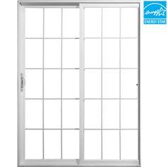 Jeld Wen 71.5 In 15 Lite Glass White Vinyl Sliding Patio Door With