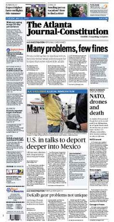 Problems in Ga. personal care homes; NATO, drones and death; Illegal immigration; DeKalb firefighter gear problems. The Atlanta Journal-Constitution front page for May 22, 2012