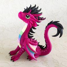 Pink Rainbow Dragon by Dragonsandbeasties Polymer Clay Dragon, Polymer Clay Dolls, Polymer Clay Creations, Dinosaur Origami, Dinosaur Art, Dragon Crafts, Dragon Art, Little Dragon, Cute Dragons