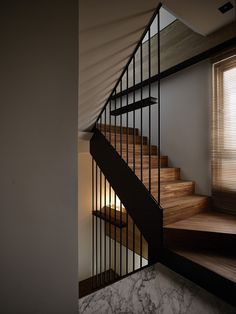 Home Stairs Design, Railing Design, Interior Stairs, House Design, Interior Architecture, Halls, Cottage Fireplace, Steel Stairs, Stair Handrail