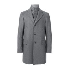 FAY Layered Single Breasted Coat (70.565 RUB) ❤ liked on Polyvore featuring men's fashion, men's clothing, men's outerwear, men's coats, grey and mens single breasted pea coat