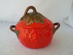 Vintage Strawberry Shaped Soup Tureen by vintapod on Etsy, $25.50