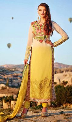 Yellow and Cream Net Embroidered Long Churidar Suit Price: Usa Dollar $121, British UK Pound £71, Euro89, Canada CA$131 , Indian Rs6534.