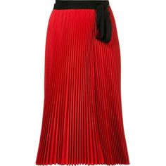 Tome 'Pleated Wrap' skirt (€430) ❤ liked on Polyvore featuring skirts, red, red wrap skirt, tome, pleated skirts, red skirts and knee length pleated skirt