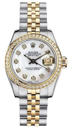 Rolex Women's New Style Two-Tone Datejust with Custom Diamond Bezel and Mother of Pearl Diamond Dial - Luxury Of Watches