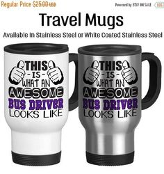 Travel Mug, This Is What An Awesome Bus Driver Looks Like Gift For A Bus Driver, Gift Idea, Stainless Steel 14 oz Coffee Cup