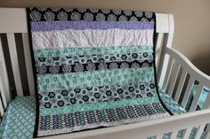 Hey, I found this really awesome Etsy listing at https://www.etsy.com/listing/223972466/baby-rag-quilt-purpleblackaquawhite