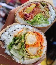 Tempura + salmon sushi wraps   pinterest: @Blancazh