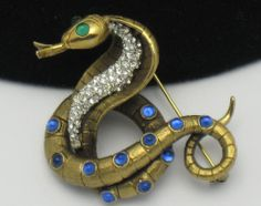 CORO FRANCOIS Very Rare Vintage Figural Cobra Snake Rhinestone Brooch Pin. Find this and more at http://www.rubylane.com/shop/atouchofrosevintagejewels