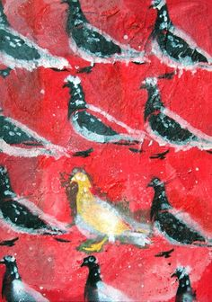 The only different bird in the field of repetition is the one that is stressed on in this painting.