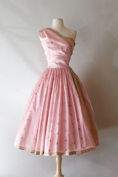 1950's pink and gold silk sari fabric party dress, available at Xtabay Vintage.