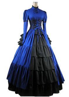 Blue Long Sleeves Princess Satin Gothic Victorian Dress | Cheap gothic victorian lolita dresses Sale