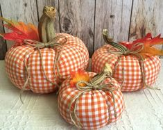 Excited to share this item from my shop: 3 fabric pumpkins, stuffed pumpkins, plaid pumpkins, fall decor, check pumpkin centerpice Diy Pumpkin, Pumpkin Crafts, Fabric Pumpkins, Fall Pumpkins, Autumn Crafts, Holiday Crafts, Pumpkin Centerpieces, Pumpkin Table Decorations, Fall Halloween