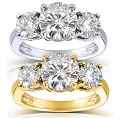Annello by Kobelli 14k Gold 2 1/2ct TGW Round Three Stone Moissanite Engagement Ring