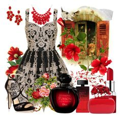 """""""Red hot"""" by patchouli-woods ❤ liked on Polyvore featuring Chi Chi, Clinique, Elizabeth Arden, Alexander McQueen, Jimmy Choo, Alexa Starr, Style & Co. and Christian Dior"""