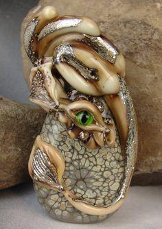 Handmade Lampwork Bead Dragon   Earnan  Glass by by marylockwood, $69.00