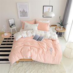 0628deedc9 Pink Queen Duvet Cover Set Cotton Full White Duvet Cover Girls Teens 3  Piece Reversible Embroidered