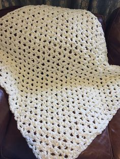 Baby Blanket- Hand Crochet- Vintage White by MadiMadeItCo on Etsy
