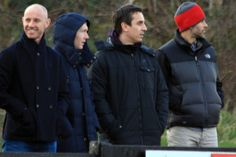 Gary Neville, Paul Scholes, Ryan Giggs and Nicky Butt were in the 'crowd' to watch Salford FC take on Curzon Ashton in the Evo-Stik First Division North