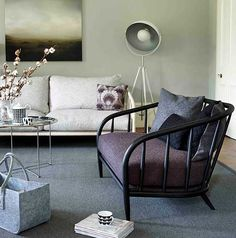 modern rustic interior trends with neutrals and dark sofa