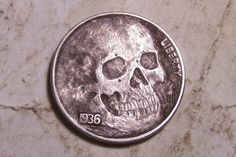 Hobo Nickel Freaky Face Skull Hand Carved by JH Ohns Buffalo Human Real Coin Art | eBay