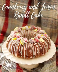 My Cranberry and Lemon Bundt Cake is a delicious showstopper cake. It's also so easy to make and quick to decorate. Recipe can be used for a normal cake. Cranberry Recipes, Fruit Recipes, Fruit Dips, Fruit Platters, Drink Recipes, Christmas Cheesecake, Lemon Bundt Cake, Fairy Cakes, Big Cakes