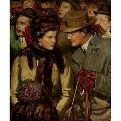 American Types 1912 The only two at the game Canvas Art - Clarence F Underwood (18 x 24)