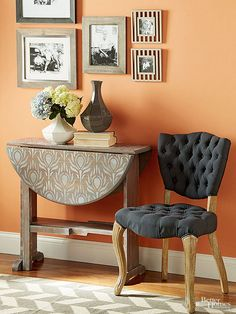 Give an old table a stylish new face with this simple stain-and-stencil furniture makeover./ I'm more interested in the chair! Beautifully uphostered