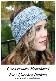 The Crossroads Headband free crochet pattern uses simple cable stitches to  create this super stylish headband b77ab294a4c