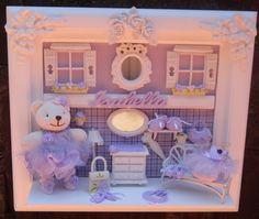 Quadro enfeite de porta maternidade bebe ,decoração ursinha bailarina com ursa de pelúcia miniaturas de resina e mdf com apliques arabescos de rosa personalizamos com as cores de sua preferencia e o nome do seu bebe R$ 378,00