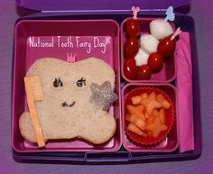 Bento box lunch box : tooth sandwich with cheese brush - genius when it's health week at school! Make Every Day Special ♥