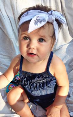 Motorcycle tied top knot headband by turbansfortots on Etsy