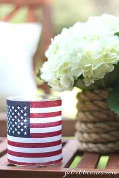 DIY illuminating flag candle holder