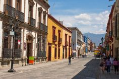 Oaxaca old town street - Stock Photo , Cool Places To Visit, Places To Travel, Oaxaca City, Street Stock, Mexico Culture, Mexico Resorts, Visit Mexico, White Sand Beach, Mexico Travel