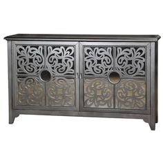 An ornamental fretwork of curving wood over mirror highlights a four-panel door front on this sideboard. The metallic finish takes a flamboyant turn as the doors open to uncover a hot pink interior. Pulaski Furniture, Home Furniture, Furniture Ideas, Business Furniture, Apartment Furniture, Furniture Storage, Cabinet Furniture, Unique Furniture, Rustic Furniture