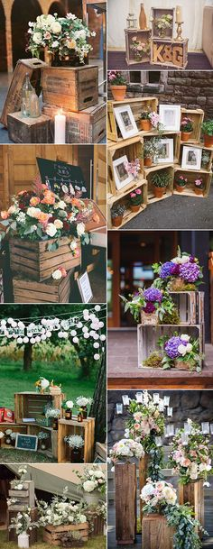 Vintage rustic wedding decoration ideas with wooden boxes # .- Vintage rustikale Hochzeitsdekoration Ideen mit Holzkisten Ho… Vintage rustic wedding decoration ideas with wooden boxes Wedding ideas - Wood Themed Wedding, Wooden Crates Wedding, Wood Crates, 2017 Wedding Trends, Wedding 2017, Deco Champetre, Rustic Wedding Decorations, Vintage Party Decorations, Wedding Centerpieces