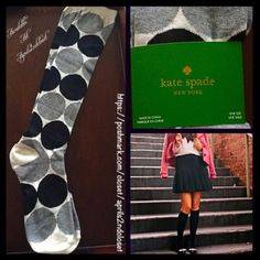 Kate Spade Tall Knee High Boot Socks  NEW WITH TAGS   Kate Spade Tall Knee High Boot Socks  * Super soft & comfortable fabric * Opaque Knit construction (not sheer). * Stretch-to-fit * One size fits most; Pull on & to the knee style ****The solid black Kate Spade socks in the cover photo are for styling purposes only & to show length. *** Fabric: 67% Cotton, 31% Polyester & 2% spandex; Machine wash Color: Black, white & grey combo  No Trades ✅Bundle Discounts✅ kate spade Accessories Hosiery…