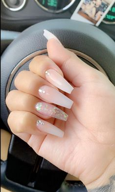 In search for some nail designs and some ideas for your nails? Here's our list of must-try coffin acrylic nails for cool women. Aycrlic Nails, Hair And Nails, Coffin Nails, Acrylic Nails Coffin Classy, Stiletto Nails, Best Acrylic Nails, Acrylic Nail Designs, Milky Nails, Nails Design With Rhinestones