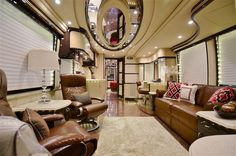 Liberty Coach Photography by Joe Kay Studios Interior design by Kim Konigseder Leather couches Garrett Vintage Toffee