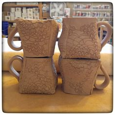 I do love these adorable fat-bottom mugs! I'm backed up in glazing right now so it'll be a couple of weeks before these are done but I can't wait to see how the glaze I'm eyeing works up with this red clay.