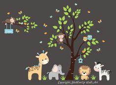 "Jungle Trees Safari Animals Reusable Wall Decals-Baby Nursery Artwork 85"" x 130"" #WallDecals4You"