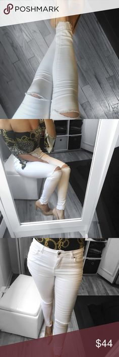 "🆕 White Distressed Knee Skinny Fit Jeans Chic & sophisticated. Stretchy enough to allow for a snug , comfortable fit. Mid rise  ▪️MATERIAL : 98% Cotton, 2%  Elastane ▪️MEASUREMENTS: Flat . Start with a pair of pants you already have that fit you well and lay them flat on the floor and compare them with my details enclosed.  ▪️FEATURES : comfy, not sheer, destroyed ankle, zip fly  ▫️Modeling Size 4  : I'm  5' 5"" and 132 lbs   ( bust 34 
