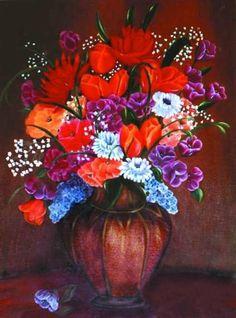 Flores, óleo sobre tela